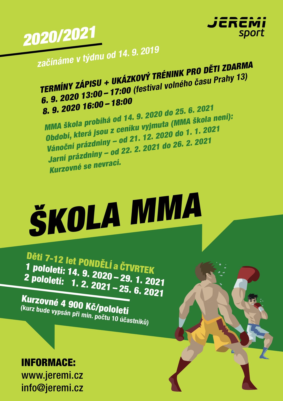 Leták A5 MMA škola 2020-2021
