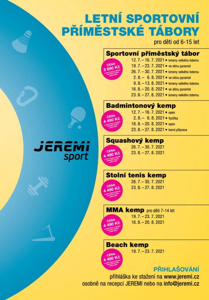 Leták letní kempy tábory JEREMI 2021-1